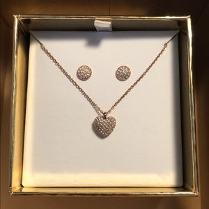 Michael Kors Rose Gold Necklace and Earrings Set